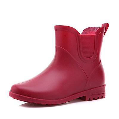 韓國KW美鞋館-簡約隨興防水輕量名牌可拆卸長筒雨鞋 紅