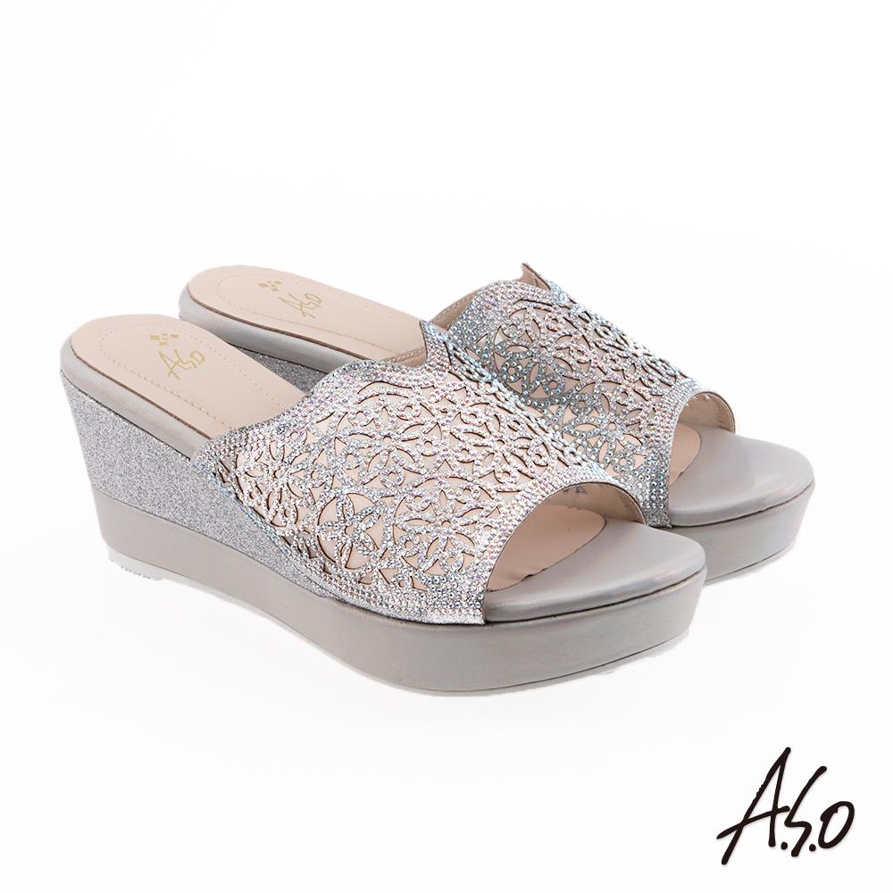 A.S.O 炫麗魅惑 鏤空水鑽楔型奈米涼拖鞋 銀