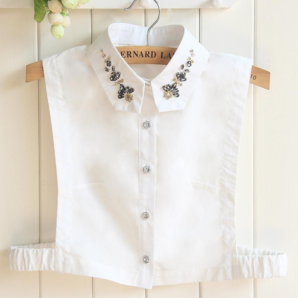 米蘭精品 假領子襯衫領片-三角領水晶鑲鑽純棉女裝配件2色73vk38