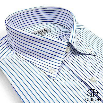 GIBBON 都會紳仕修身長袖襯衫‧細藍條