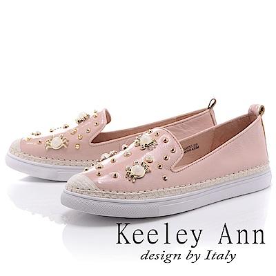 Keeley Ann 夏日海灘~寶石螃蟹全真皮平底休閒鞋(粉紅色-Ann)