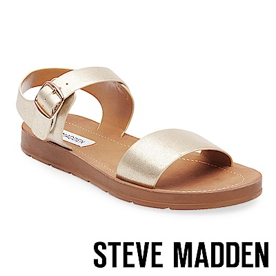 STEVE MADDEN-PROBABLE-金屬扣平底涼鞋-金色