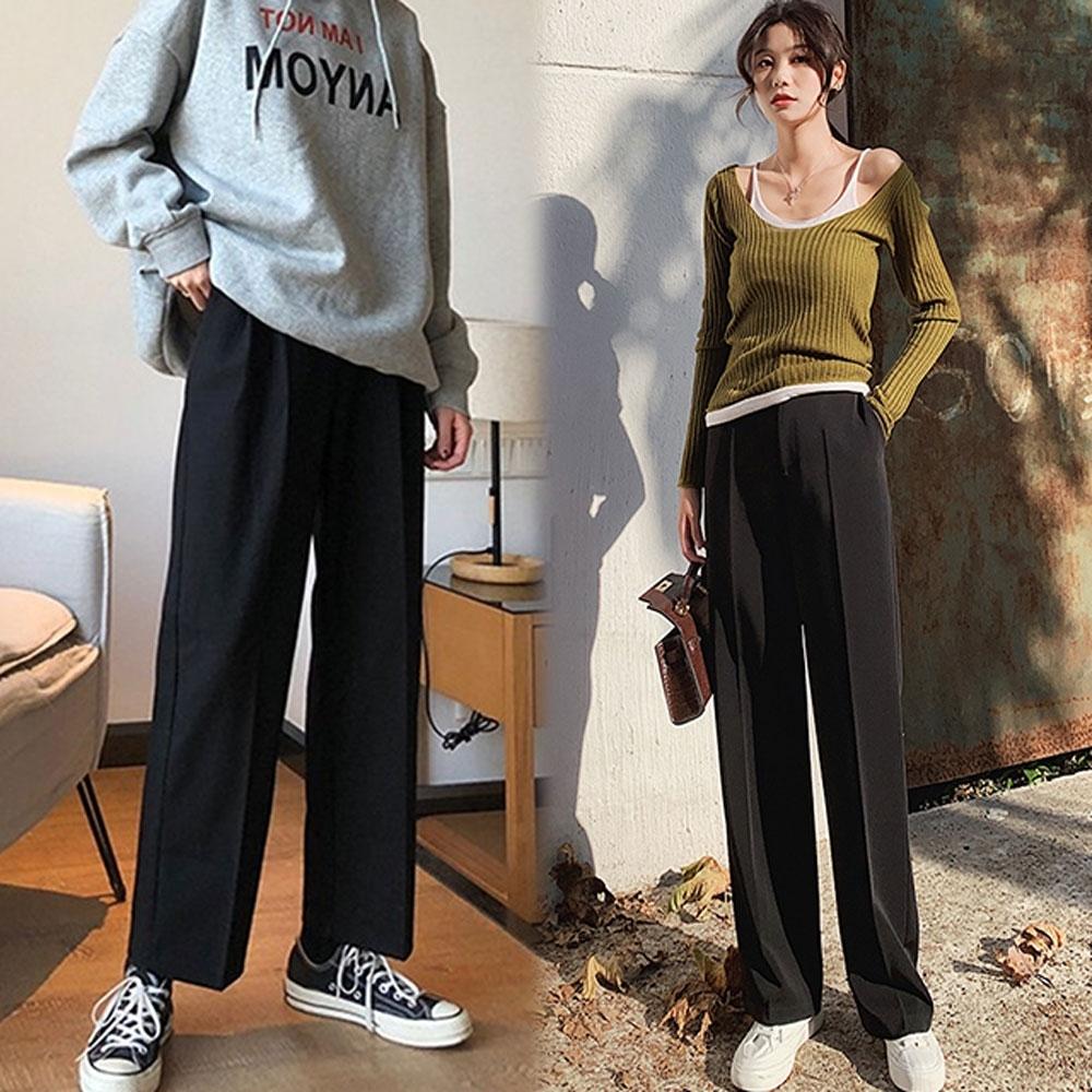 【韓國K.W.】(預購)明星款尺樹寸泓寬褲-1色