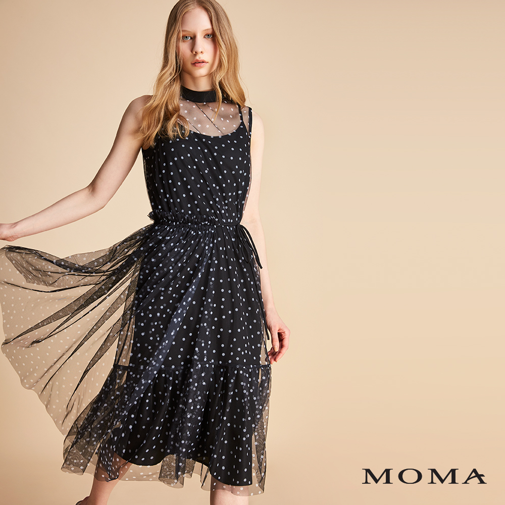 MOMA 立領圓點紗洋裝