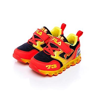 FILA KIDS小童電燈TPR慢跑鞋-黑紅 7-J852S-209