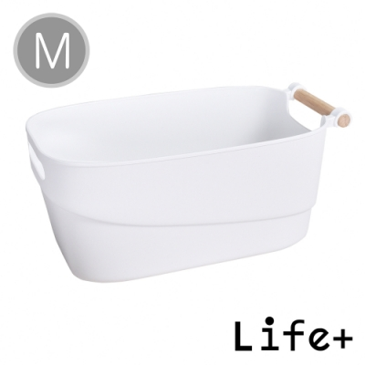 Life Plus 原色生活 木柄提把多功能收納籃/置物籃(M)