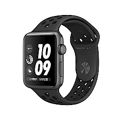Apple Watch Nike S3 GPS 38mm太空灰色鋁金屬搭殼黑色運動型錶帶