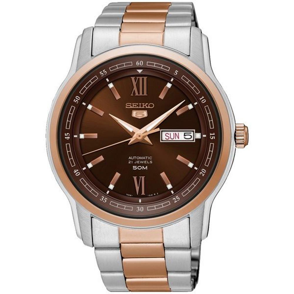 SEIKO 精工盾牌五號時尚機械手錶SNKP18J1-咖啡/43mm