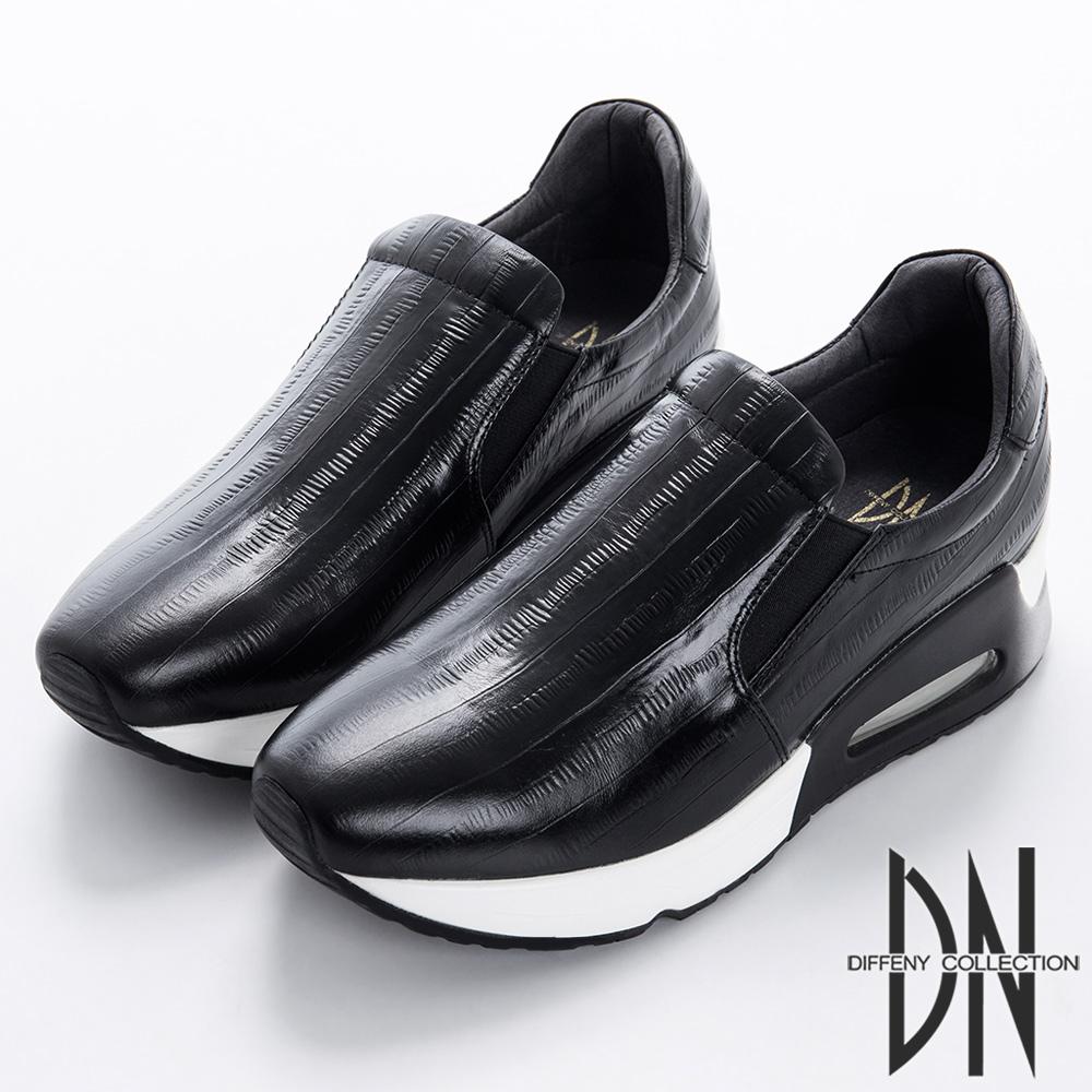 DN 個性俐落 牛皮壓紋氣墊休閒鞋-黑
