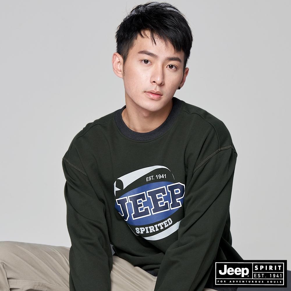 Jeep 男裝 復古LOGO圖騰長袖T恤-墨綠