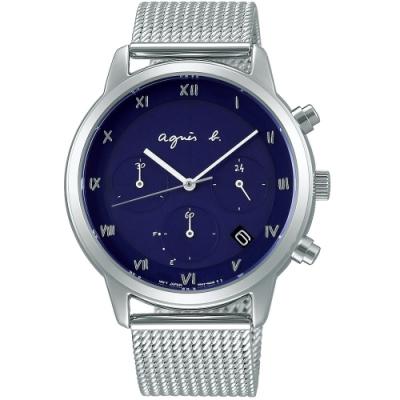 agnes b. 時尚三眼羅馬字米蘭帶計時腕錶(VR42-KGD0B BZ5006P1)