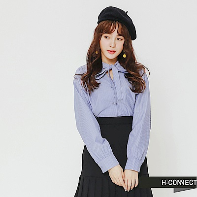 H:CONNECT 韓國品牌 女裝-排釦綁帶條紋襯衫-藍