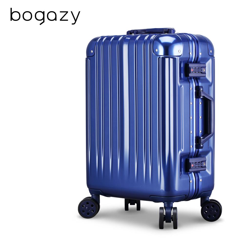 Bogazy 迷幻森林III 20吋鋁框新型力學V槽鏡面行李箱(軍艦藍)