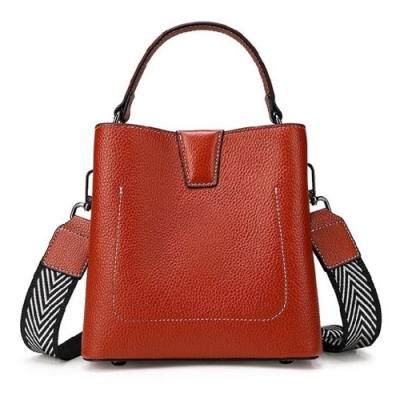 米蘭精品 側背包真皮水桶包-雙肩帶純色牛皮手提女包包情人節生日禮物3色73yp45