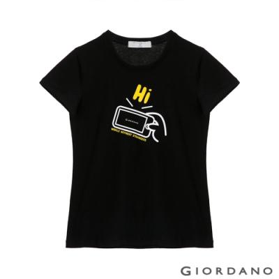 GIORDANO  女裝Greeting印花T恤 - 29 標誌黑