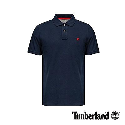 Timberland 男款深寶石藍撞色刺繡LOGO短袖POLO衫|A1ZKE