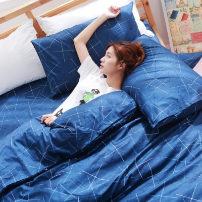 BUHO 雙人三件式精梳純棉床包組(藍調靈魂)