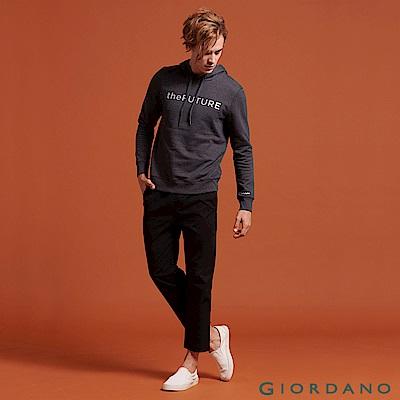 GIORDANO  男裝腰鬆緊抽繩純棉九分褲-09 標誌黑
