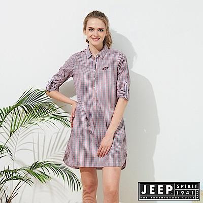 JEEP 女裝 甜美造型格紋襯衫式外套-紅藍格