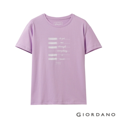GIORDANO 女裝MUSIC系列印花短袖T恤-42 薰衣草紫