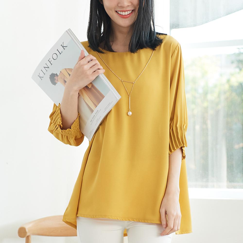 KatieQ 幾何項鍊雪紡上衣-黃