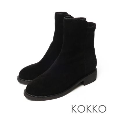 KOKKO激瘦感側拉鍊拼接牛麂皮粗跟短靴霧面黑