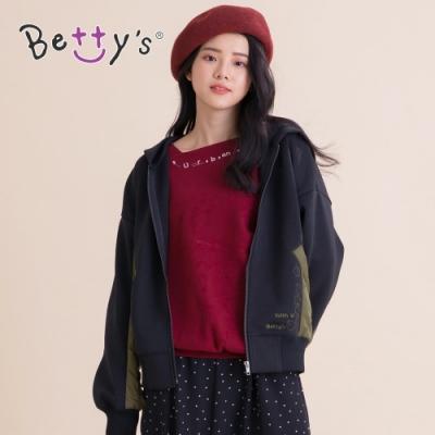 betty's貝蒂思 率性休閒拼接連帽外套(黑色)