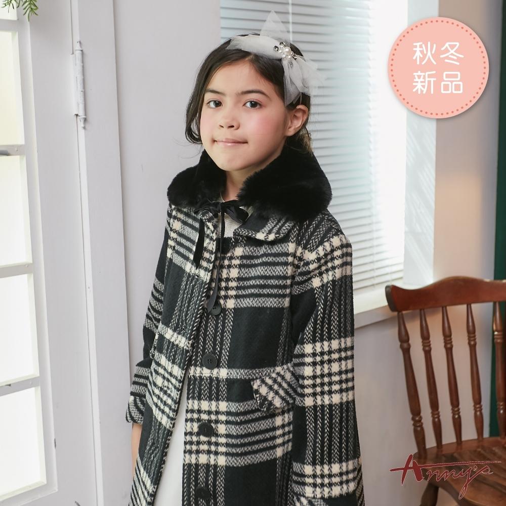 Annys安妮公主-歐美格紋秋冬款排扣混羊毛脖圍可拆口袋大衣*8676黑色