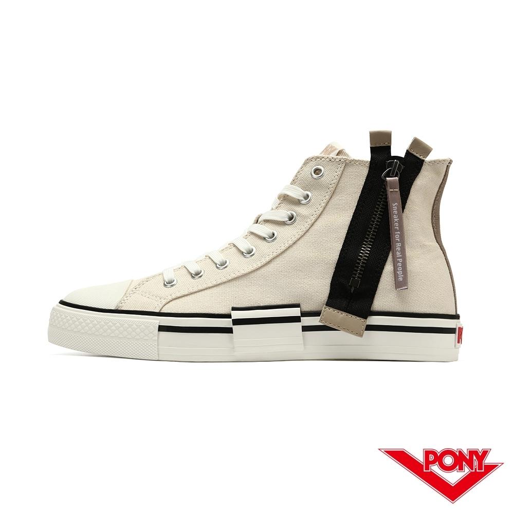 【PONY】Shooter系列 高筒 拉鍊帆布鞋 休閒鞋 女鞋-米白