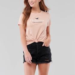 海鷗 Hollister HCO 經典印刷文字大海鷗短袖T恤(女)-粉色