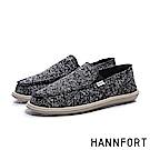 HANNFORT COZY可機洗針織雪花氣墊懶人鞋-男-髮絲黑