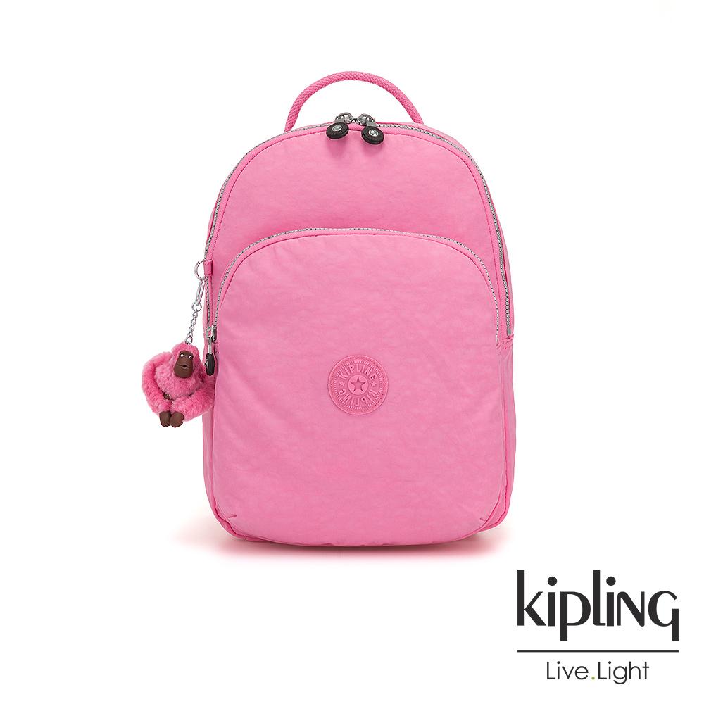 Kipling 甜美糖果粉雙層拉鍊後背包-SEOUL AIR S