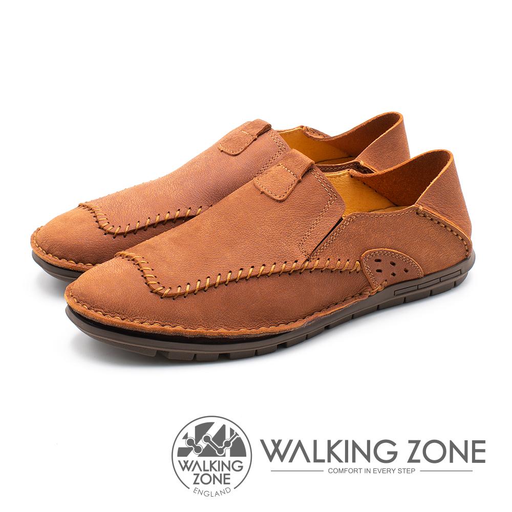 WALKING ZONE(男)素面時尚棒球車線踩腳鞋-咖(另有米/藍)