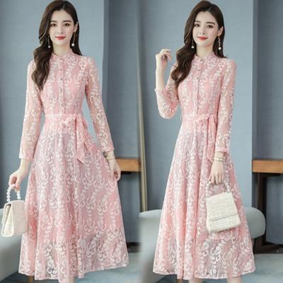 【韓國K.W.】(預購)韓時尚文藝氣質百搭輕甜蕾絲洋裝-3色