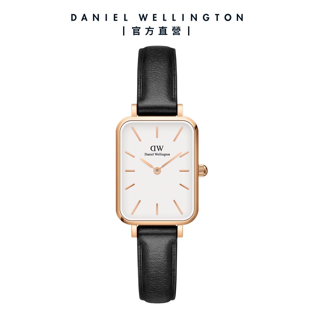 【Daniel Wellington】Quadro Sheffield 20X26經典黑真皮皮革小方錶 玫瑰金 DW手錶