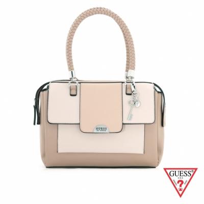 GUESS-女包-撞色拼接編織提袋手提包-粉 原價3690