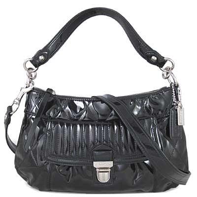 COACH POPPY 黑色漆亮皮菱格紋肩斜兩用包