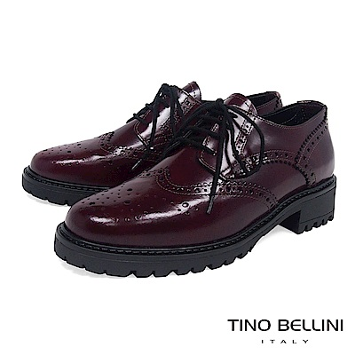 Tino Bellini 義大利進口臘感皮革品味雕花中跟牛津鞋 _ 酒紅