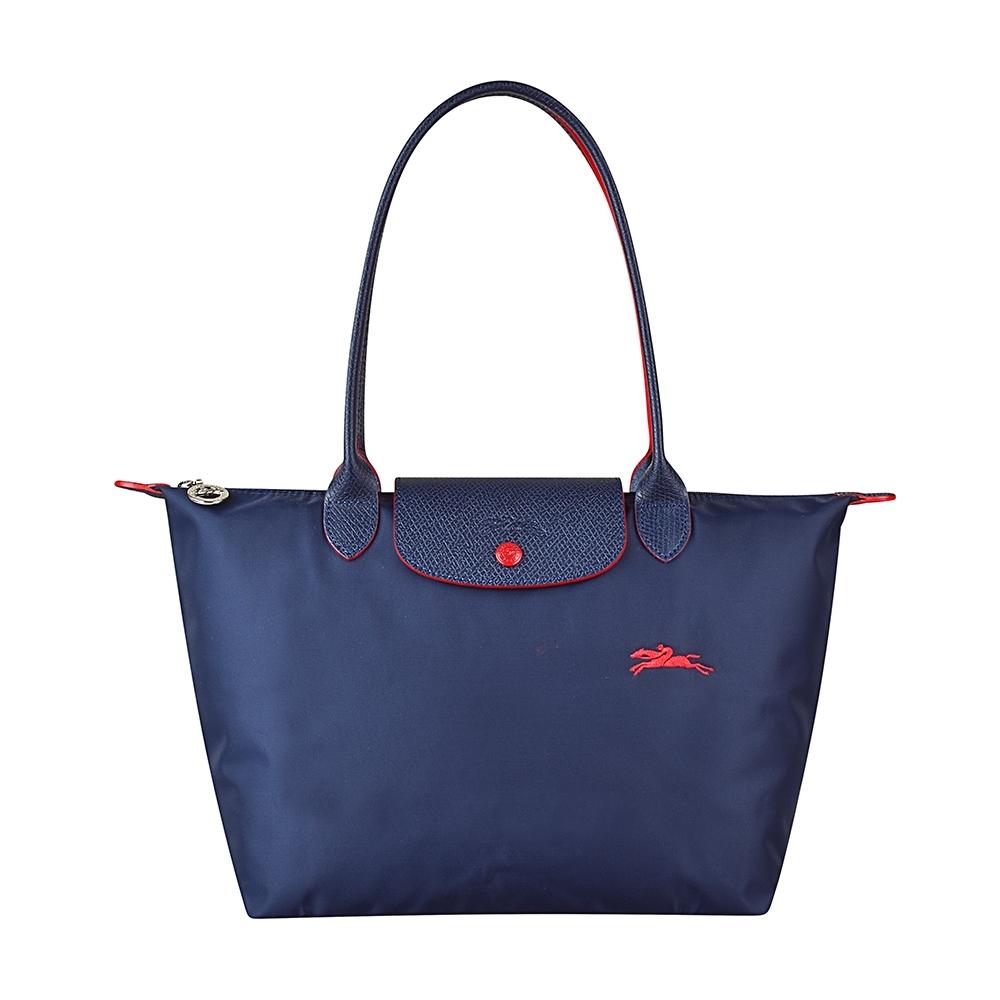 LONGCHAMP COLLECTION刺繡LOGO尼龍摺疊款長把手提包(小/深藍x紅)