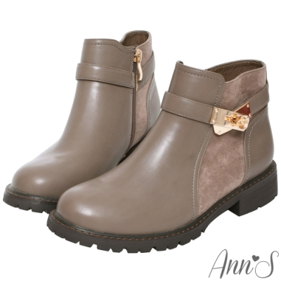 Ann'S簡練感-淺金轉扣拼接平底短靴-咖