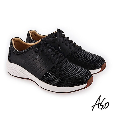 A.S.O 輕量抗震 特殊皮革拼接休閒鞋 黑