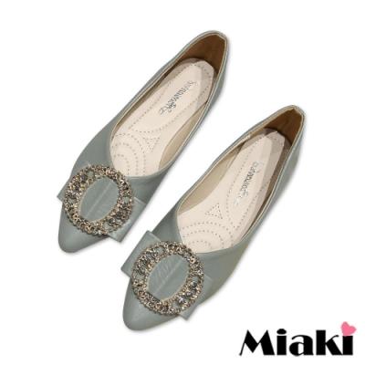 Miaki-娃娃鞋小香彩鑽低跟平底鞋-綠