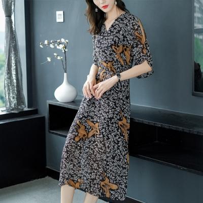 高貴氣質碎花顯瘦洋裝S-2XL(共二色)-REKO