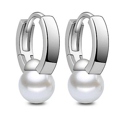 I.Dear飾品-正白K-霸王別姬-韓國網紅霸王珍珠造型銀色耳針耳環DB43