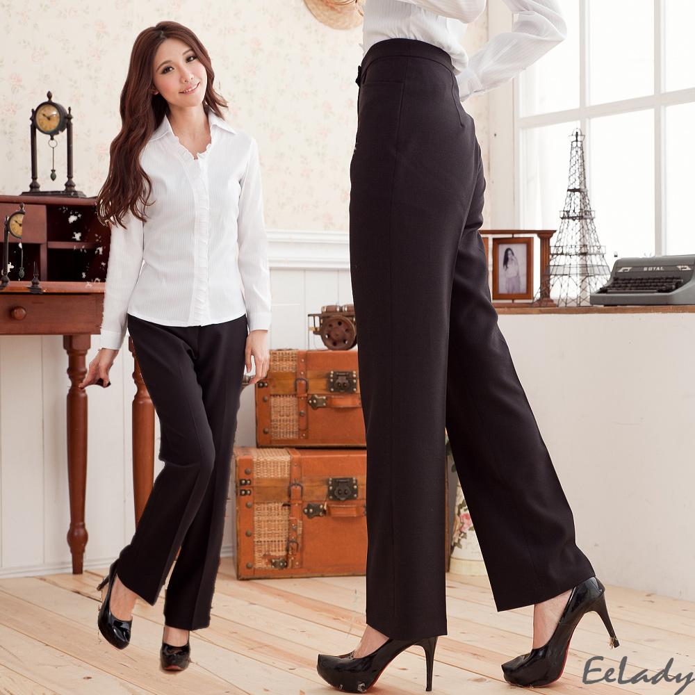 EELADY-台製L型口袋素面修身直筒褲(二色) (黑色系)