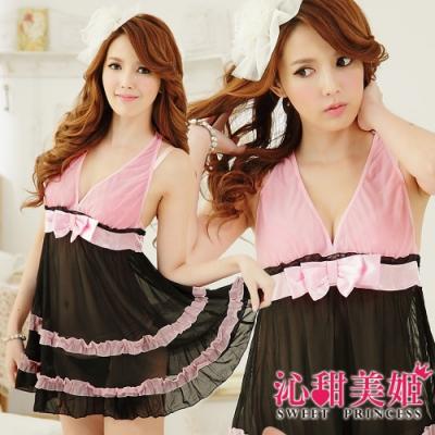 奢華網紗睡衣裙組 V領蝴蝶結美胸+雙層蕾絲裙擺 沁甜美姬(黑)