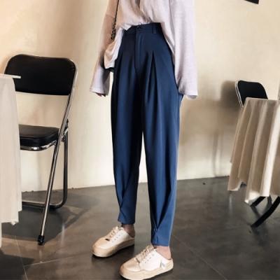 初色  高腰垂感奶奶褲-共2色-(M-2XL可選)