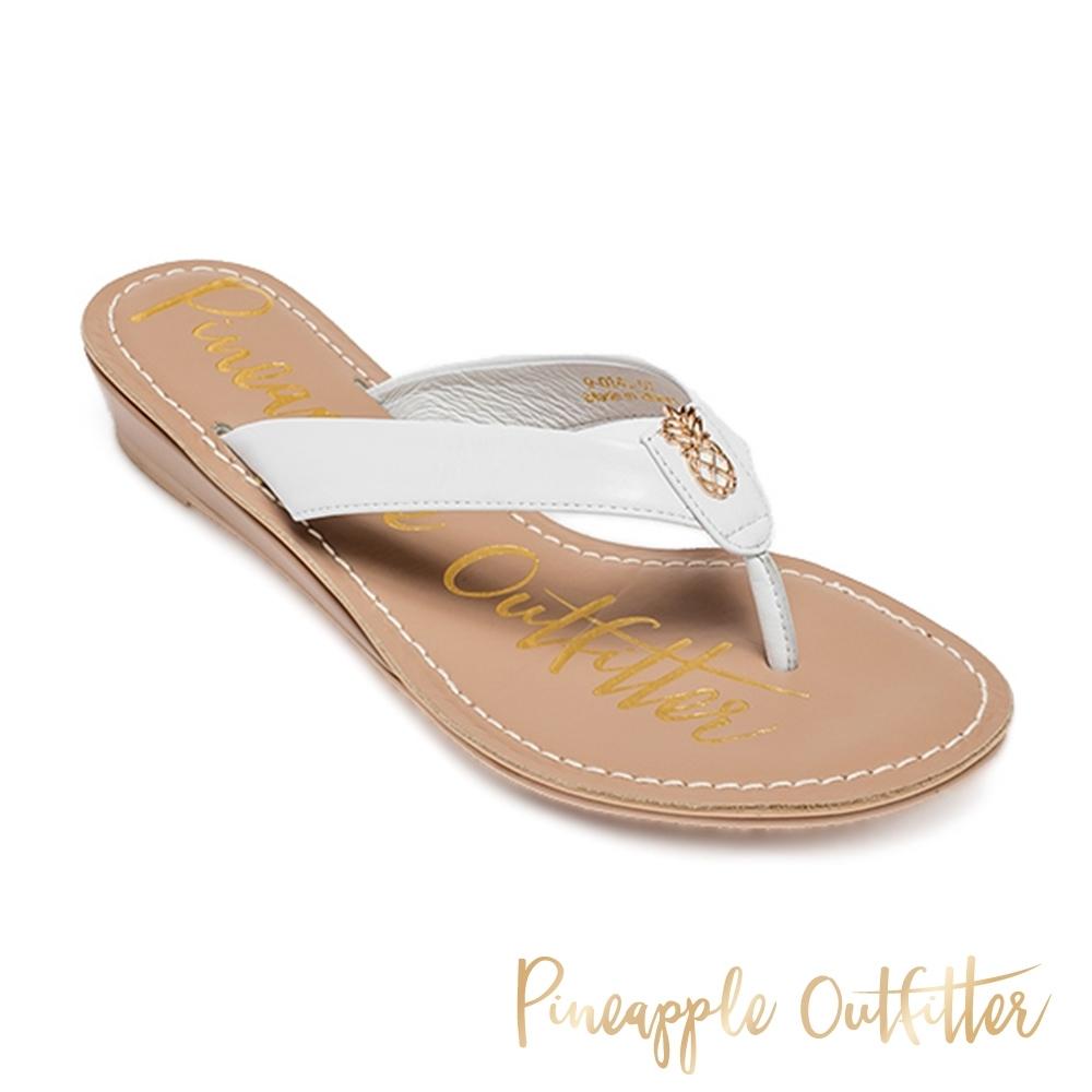 Pineapple Outfitter-HARPER 時尚皮革金屬粗帶夾腳拖涼鞋-白色