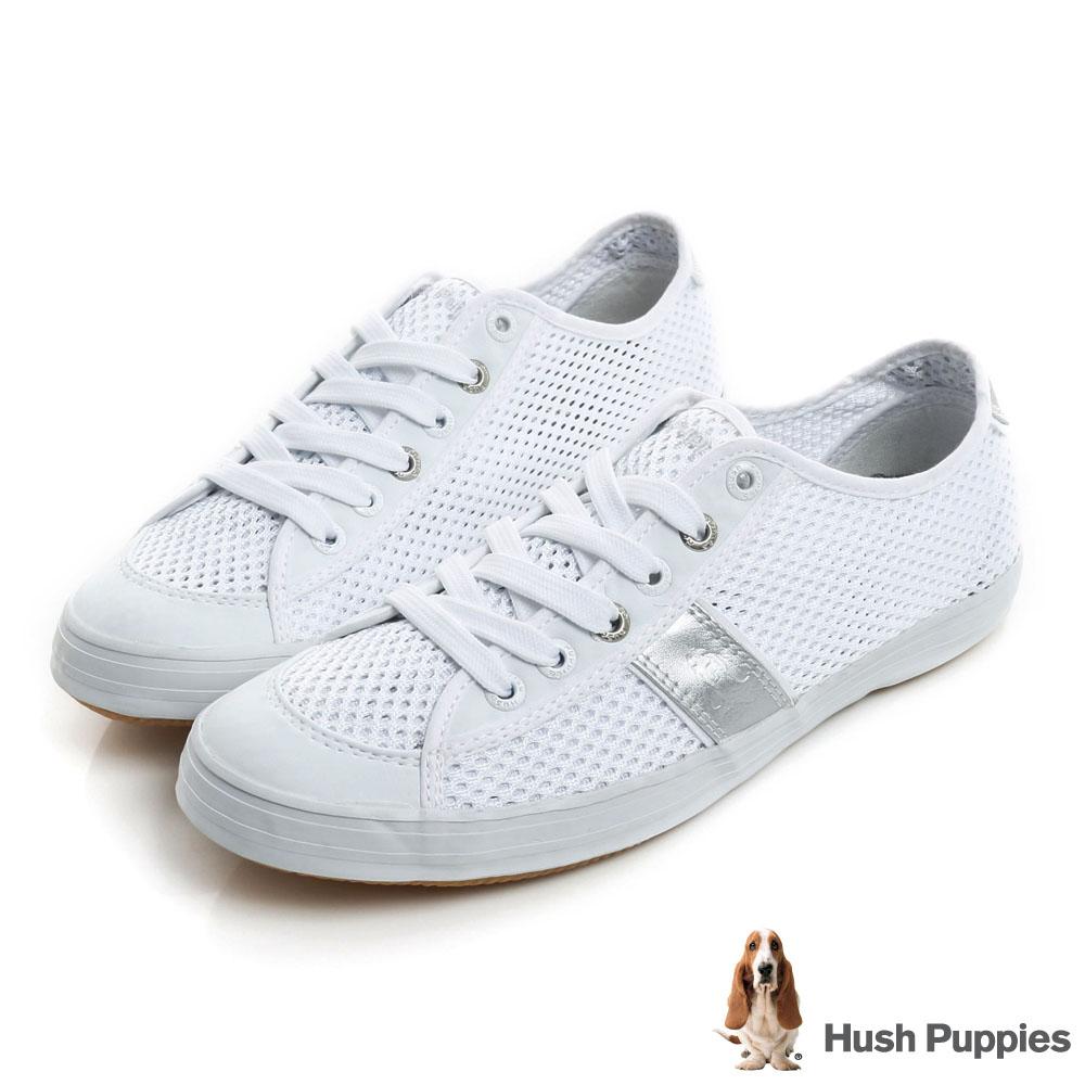 Hush Puppies 透氣網布咖啡紗休閒鞋-銀色