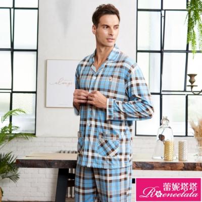 睡衣 針織棉男性長袖褲裝睡衣(R88211-5格紋小熊) 蕾妮塔塔